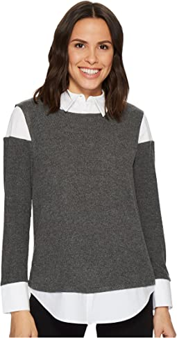 Vince Camuto - Long Sleeve Mix Media Brushed Jersey Top