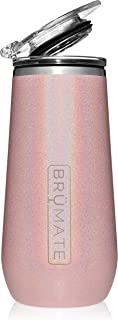 Br�Mate 12oz Insulated Champagne Flute With Flip-Top Lid - Made With Vacuum Insulated Stainless Steel (Glitter Blush)