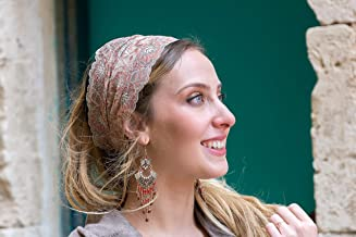 Stunning Cream & Umber Embellished Lace Headband Bandana, Tichel, Head Covering,scarf, Half Coveing, Pre-tied,loss Hair