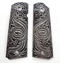 PARAS Aluminum Hand Engraved 1911 Grips Fit with Colt S&W Kimber Springfield Dragon