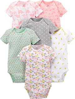 Simple Joys by Carter's Bébé fille Body Manches Courtes En Coton, Lot de 6