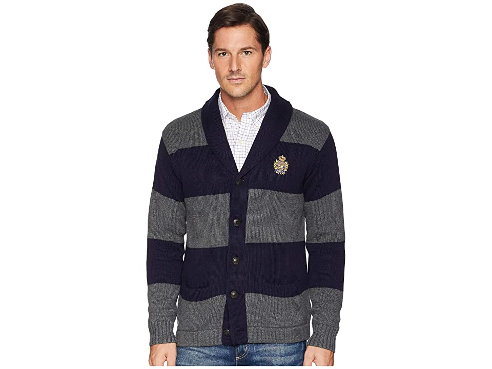 Polo Ralph Lauren Cotton Shawl Cardigan (Navy/Grey) Men