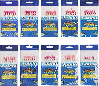 Easy Catch ® Assorted 10 Packs Freshwater/Saltwater Sea Sabiki Rigs Glow Sabiki Bait Rigs Rigged Fishing Lures/Feathers Hooks with Ball Bearing Swivel Interlock Snap Connector
