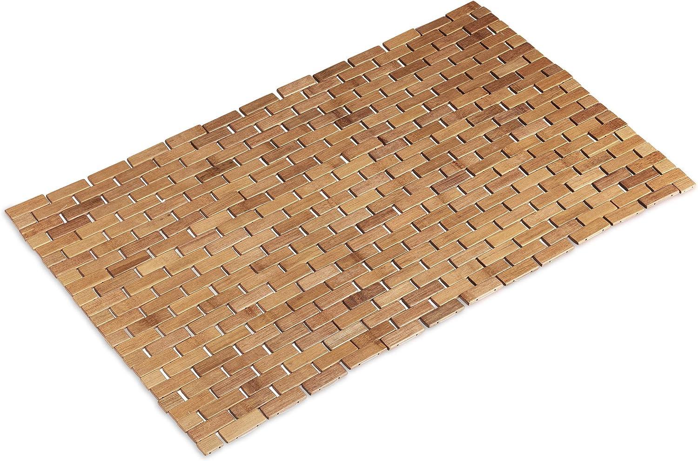Relaxdays Esterilla de bambú, Enrollable, Antideslizante, Impermeable, 50x80 cm, Natural