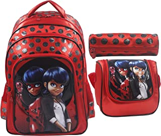 Miraculous Ladybug School Backpack For Kids Girl 16 Inch Red Include Lunch Bag And Pencil Pouch