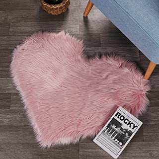 LEEVAN Fluffy Faux Sheepskin Area Rug Heart Design Super Soft Kids Play Mat Cute Girls Runner Baby Cot Rug Shaggy Floor Carpet for Sofa Living Room Bedroom Accent Home Decorate(Pink,2.3ft x 3ft)
