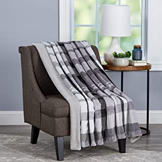 Bedford Home Blanket Oversized Plush Woven Polyester Sherpa Fleece Plaid Throw – Breathable and Machine Washable, Phantom