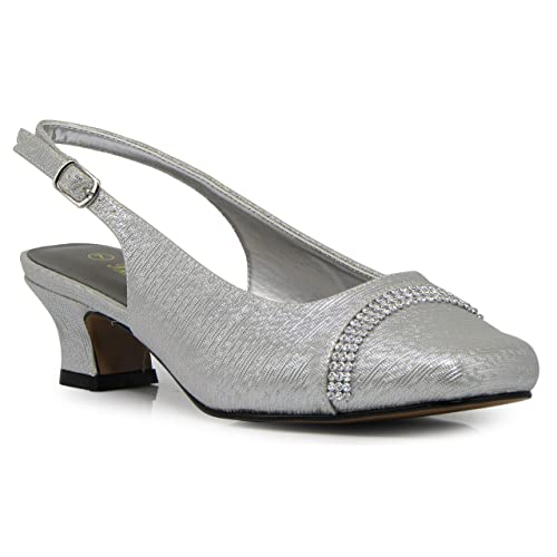 5cb8f2bd947 Enzo Romeo Antica02 Women s Wide Width Sling Back Low Heeled Pumps Sandals  Shoes