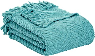AmazonBasics Chunky Knitted Fringed Throw Blanket - 60 x 80 Inches, Teal