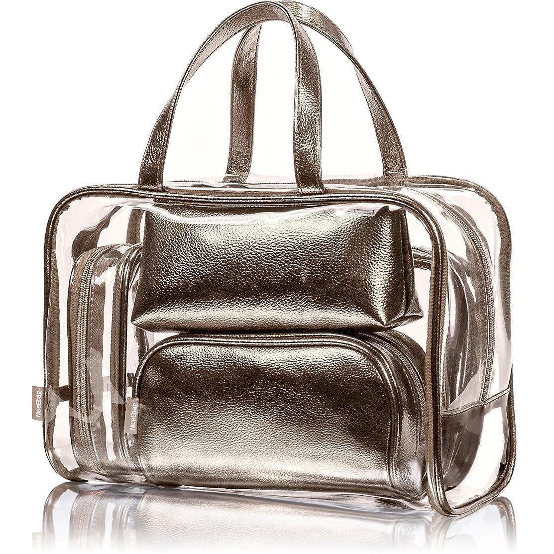 任意匿名解き明かすNiceEbag 透明バック、ビニールバッグ、化粧品バッグ、化粧ポーチ、メイクポーチ、クリアバッグ、プールバック、ハンドバッグ、トートバッグ、スタイリッシュ、オシャレ、かわいい、温泉、海、旅行 ビーチ ビジネス スパンコール 防水性 5個セットバック ブロンズ色