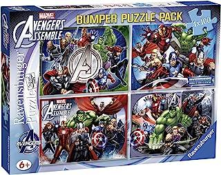 Ravensburger Marvel Avengers Assemble Bumper Puzzle Pack- 4 x 100 Pieces
