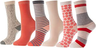 Mio Marino Women's Dress Crew Socks Casual Cotton - 6 Pack
