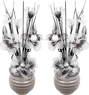 Matching Pair of Grey Vases with White and Black Artificial Flowers, Ornaments for Living Room, Window Sill, Home Accessories, 32cm