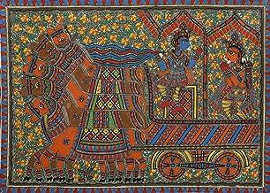 Gita Upadesha by Krishna to Arjuna - Madhubani Painting on Hand Made Paper - Folk Painting from The