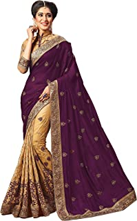 Nivah Fashion Women's Silk Embroidery Work With Blouse Piece Saree K724