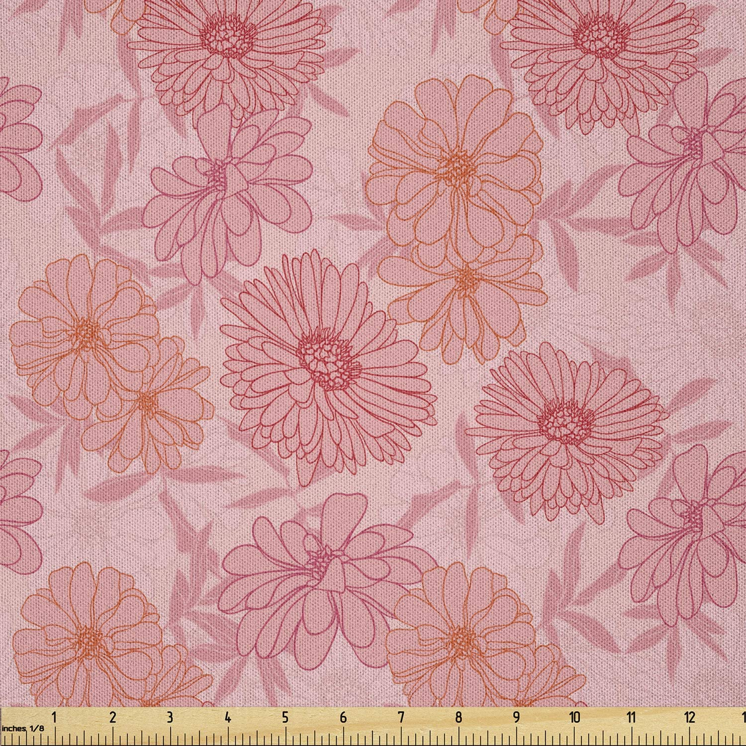 Ambesonne Floral San Antonio Mall Vintage Fabric by The Hand Romantic Drawn Yard Inexpensive