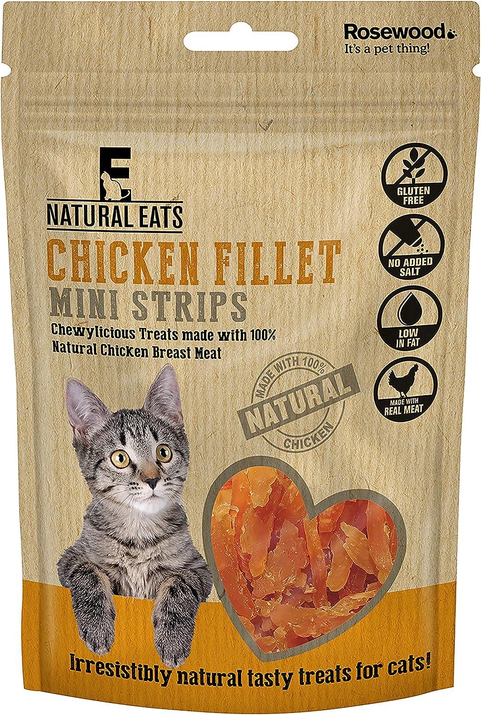 Rosewood Natural Nosh Filete de Pollo Mini Tiras para Gatos, 50 g, Paquete de 18