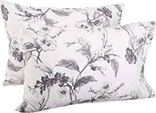 190 GSM Flannel Pillowcases, 100% Cotton, Floral Graphite, Standard