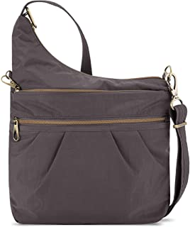 Travelon Anti-Theft Signature 3 Compartment Crossbody, Smoke, One Size