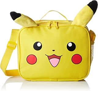 Pokemon Nintendo Plush Pikachu Insulated 3D Plush Ear Soft Portable Travel Zipper Lunch Bag Tote with Adjustable Strap, 10...