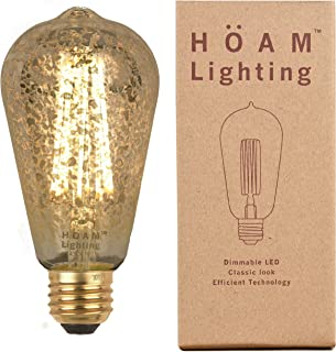 HOAM Lighting LED Edison Bulb, Dimmable, with Antique Silver Speckles, 8W LED is 75 Watt Incandescent Equivalent, ST64 4000K Cool White Light, 110V 120V E26 E27 Base