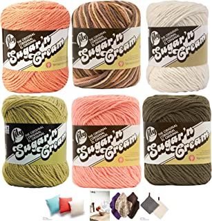 Variety Assortment Lily Sugar'n Cream Yarn 100 Percent Cotton Solids and Ombres (6-Pack) Medium Number 4 Worsted Bundle with 4 Patterns (Asst 50)