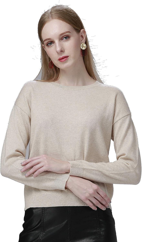 Anribio 市場 Women's 100% Pure Cashmere Crew Neck Long Sweater Sleeve 贈り物