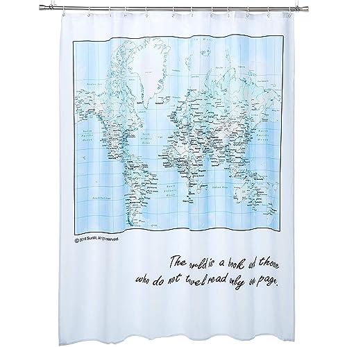 Shower Curtain Map Amazon Com