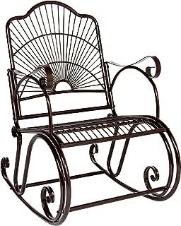 BCP Patio Iron Scroll Porch Rocker Rocking Chair Outdoor Deck Seat Antique Style Backyard Glider
