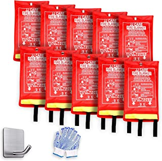 "JJ CARE Premium Fire Blanket Fire Suppression Blanket 40""x40"" + 10 Hooks & 10 Gloves, Fire Blanket Kitchen, Fire Emergency Blanket, Fire Retardant Blankets, Fiberglass, Fire Safety Blanket"