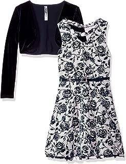 Beautees Girls' Big Dress Set with Bolero Jacket