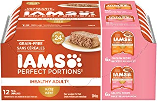 IAMS PERFECT PORTIONS Healthy Adult Wet Cat Food Paté - Chicken and Salmon, 12CT Multipack, 75g Tray
