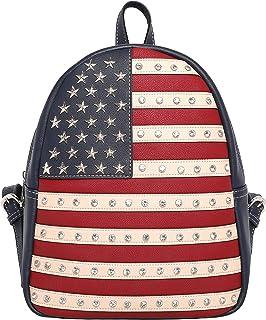 حقائب ظهر نسائية كاجوال مطبوع عليها علم أمريكا من Montana West مناسبة للسفر وللاستخدام اليومي، حقيبة ظهر ذات طابع وطني مخف...