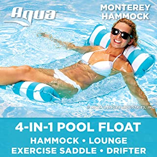 Aqua 4-in-1 Monterey Hammock Inflatable Pool Float, Multi-Purpose Pool Hammock (Saddle,..