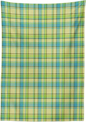 Lunarable Plaid Tablecloth, Abstract Checkered Pattern with Pixel-Like Interlacing Stripe and Line Motifs