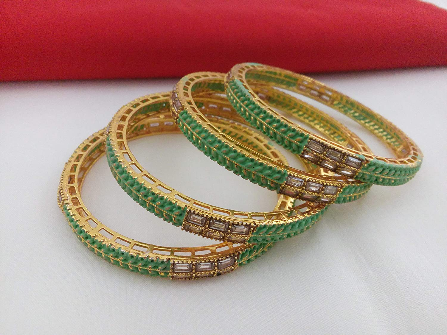 Tezshree (TJ) Indian Style Antique Golden & Green Bangle Set for Valentine Gift Ethnic Artificial Fashion Jewelry for Women & Girls (2.2)
