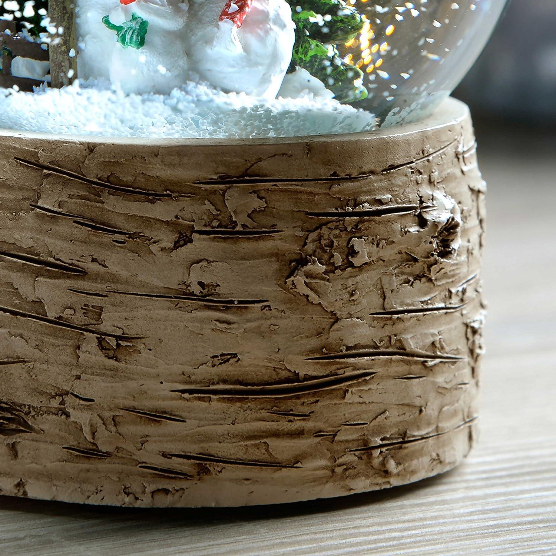 13 cm Multi-Colour WeRChristmas Snowman Family with Birch Base Snow Globe Christmas Decoration