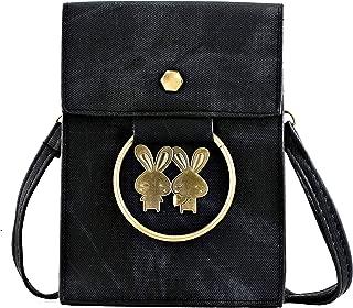 Elios Black Denim Pattern PU Casual Wear College Wear Stylish Trendy Crossbody Sling Bag For Women And Girls