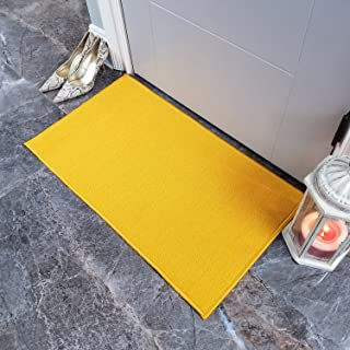 Maxy Home Doormat 18x30 Solid Yellow Rubber Backed Non Slip for Any Room, Kitchen Rugs and Mats, Washable, Made in Europe