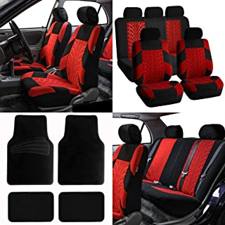 FH Group FB071115 Complete Set Travel Master Seat Covers Airbag Ready & Rear Split, Red/Black Color w. Premium Carpet Black Floor Mats- Fit Most Car, Truck, SUV, or Van