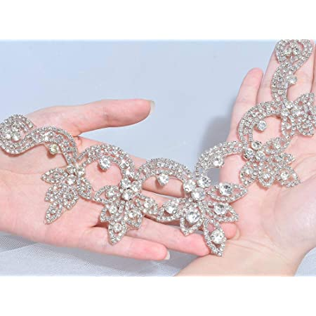 bridal applique,Sash Applique ,Crystal collar applique Gunmetal Vine Rhinestone Trim gun-black collet Bouquet Handle