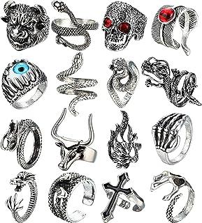 حلقه های پانک IRONBOX 16Pcs Vintage Punk Rings Gothic Dragon Wolf Claw ماهی مارمولک مارمولک مار حلقه جمجمه برای زنان