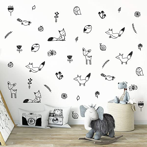 Wall Vinyl Woodland Decal 40 Pcs Nursery Decor Original Artist Design Adhesive Forest Stickers For Kids Baby Nordic Fox Deer Owl Birds Bee Raccoon Flowers And Plants Bedroom Decoration