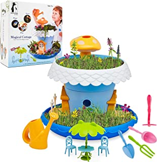 Fairy Garden Kit, DIY Fairy Garden Kit for Girls and Boys Complete With All Supplies and Accessories Including Flowerpots, Base, Watering Can, Soil, Seeds, Furniture, and Mini Gardening Tools
