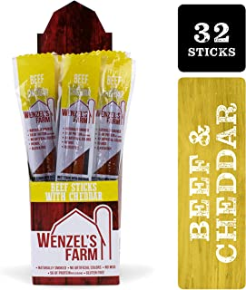 Wenzel's Farm Beef with Cheddar Sticks │Snack Sticks │ Flavorful, Naturally Smoked │ High Protein, Low Carb │ No MSG, Fillers, Binders, Artificial Colors │ Gluten Free ([16 x 2-Packs] Sticks)