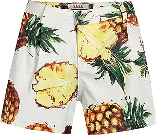 SSLR Women's Pineapples Pleated High Waist Tropical Casual Hawaiian Shorts