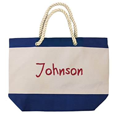 The Wedding Party Store Monogrammed Beach Tote Bag with Zipper, Pockets, Name or Initial - Custom Personalized (Royal Blue)