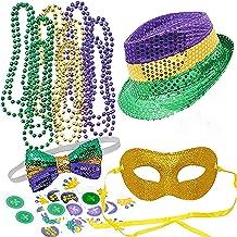 JOYIN Mardi Gras Accessory Set Party Favors with Beads Necklaces, Sequin Fedora Hat, Masquerade Mardi Gras Mask, Sequin Bo...