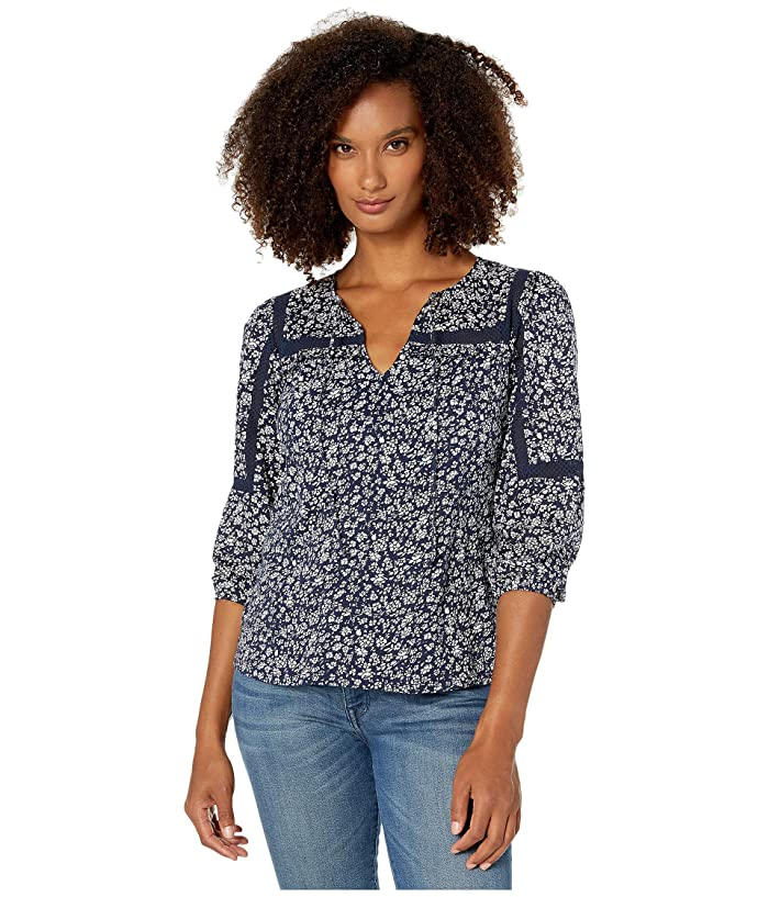 Lucky Brand  3/4 Sleeve Floral Printed Peasant Top (Navy Multi) Womens Clothing