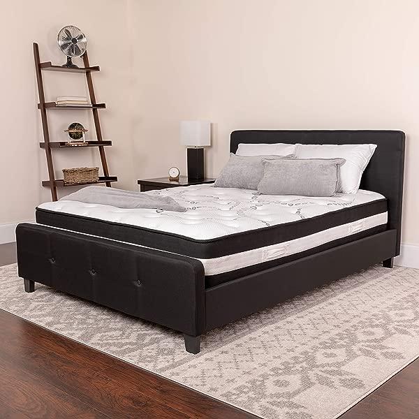 闪光家具卡普里舒适睡眠 12 英寸泡沫和口袋弹簧床垫女王在一个盒子里